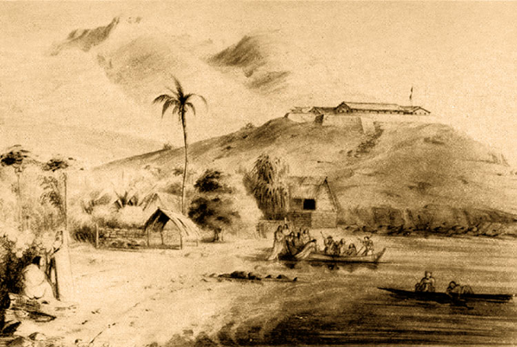 Fort Collet à Taiohae, vers 1845. Gravure Max Radiguet