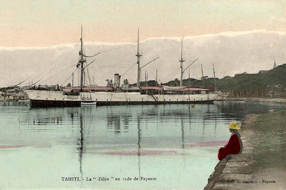 La canonnière Zélée en rade de Papeete vers 1910. Photo Lucien Gauthier