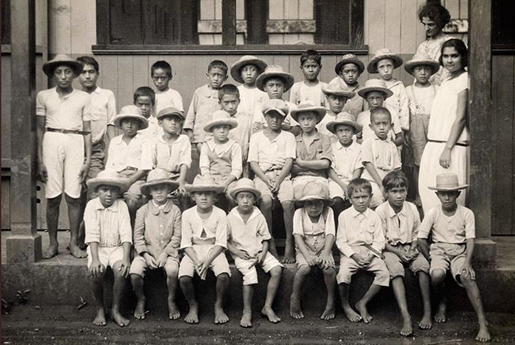 Ecole de garçons à Papeete en 1926