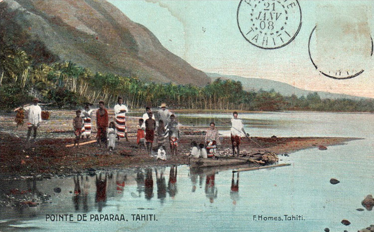 Tahiti, pointe de Papara vers 1900