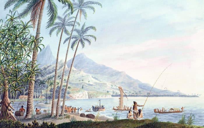 Near the watering place Matavai. Aquarelle de George Tobin 1792