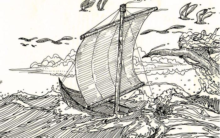 Mahina, le bateau fantôme de Hao. Dessin Daniel AKeou 2001
